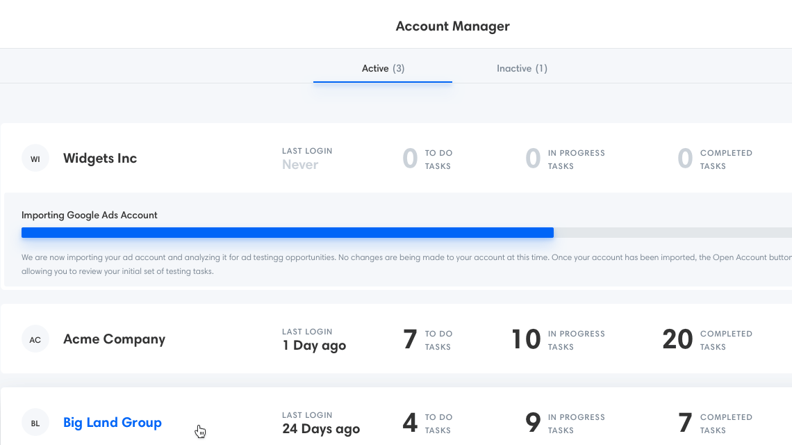 Manage All of Your Ad Testing Accounts in Minutes